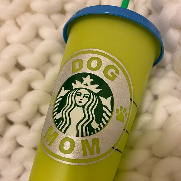 Color changing sparkle dog mom cup custom